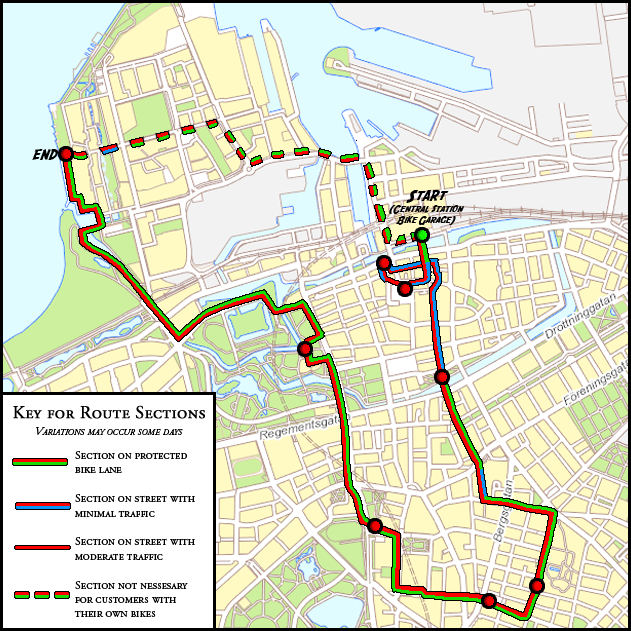 Map of the City Tour Malm Bike Tours